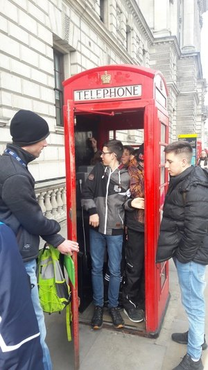How many students go into one phone box? Eight!